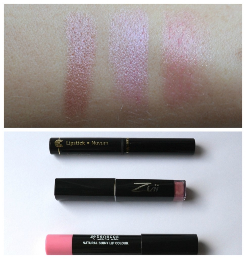 swatches sheerlips zuii  benecos hauschka