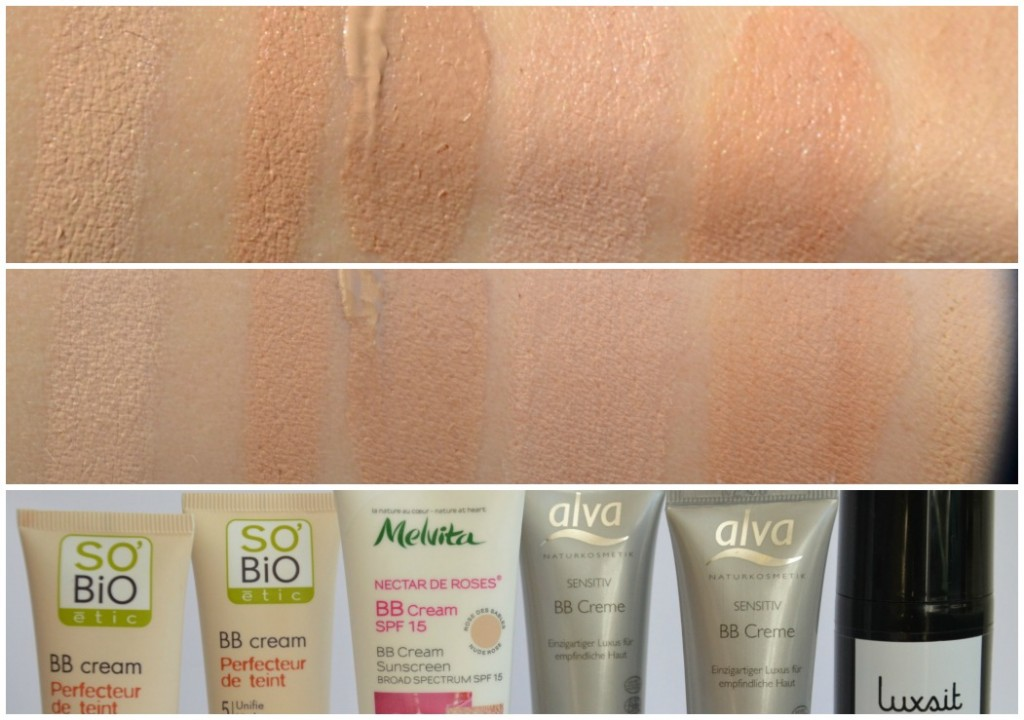 bb creams swatches